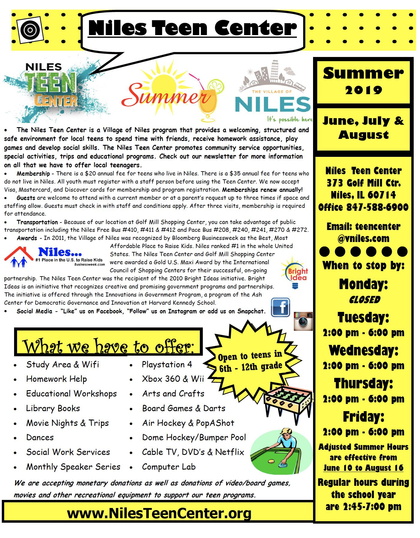 Niles Teen Center Summer News
