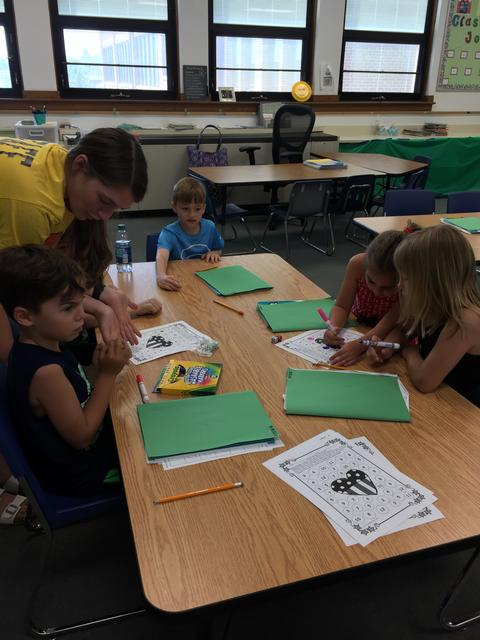 students working on worksheets