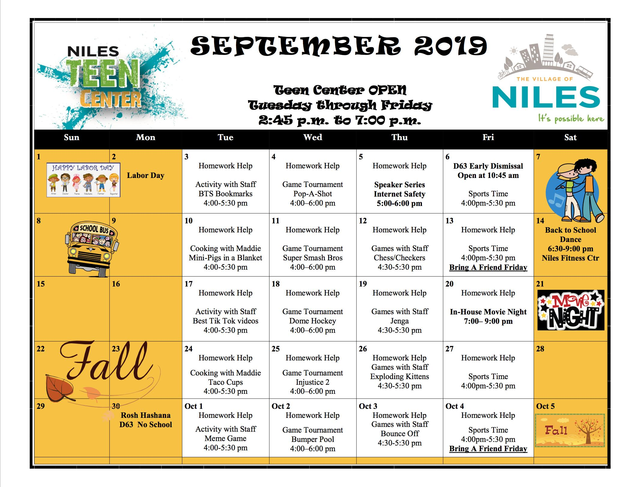 Niles Teen Center Fall Calendar