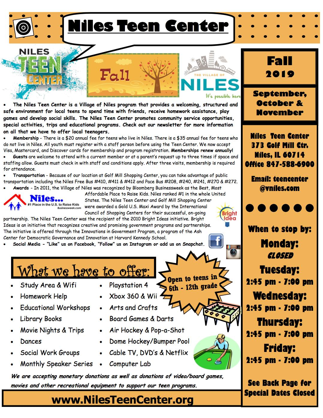 Niles Teen Center Fall Breakout