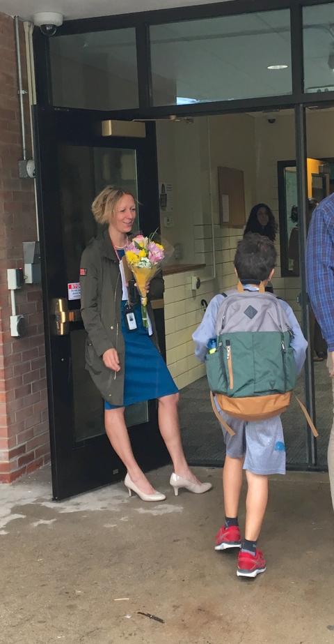 Washington Principal Welcoming Students