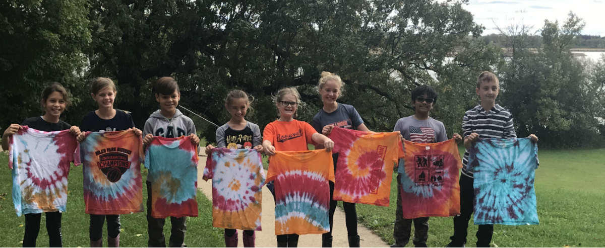 5th Graders with Tie Dye shirts at Camp Duncan