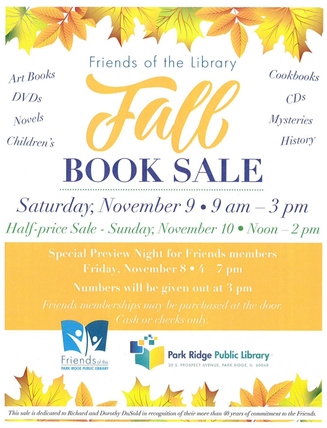 Park Ridge Library Fall Book Sale