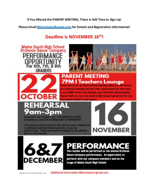 Maine South Orchesis Performance Opportunity