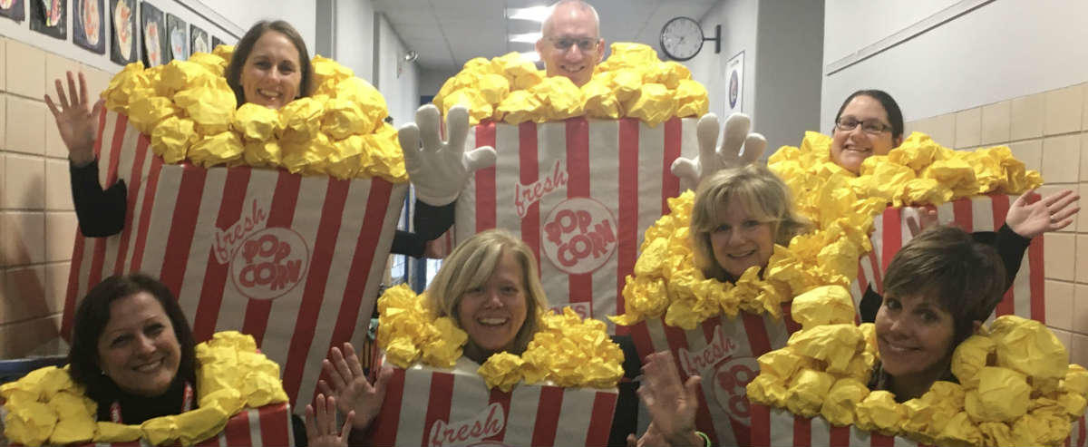Office Staff dressed as popcorn for Halloween
