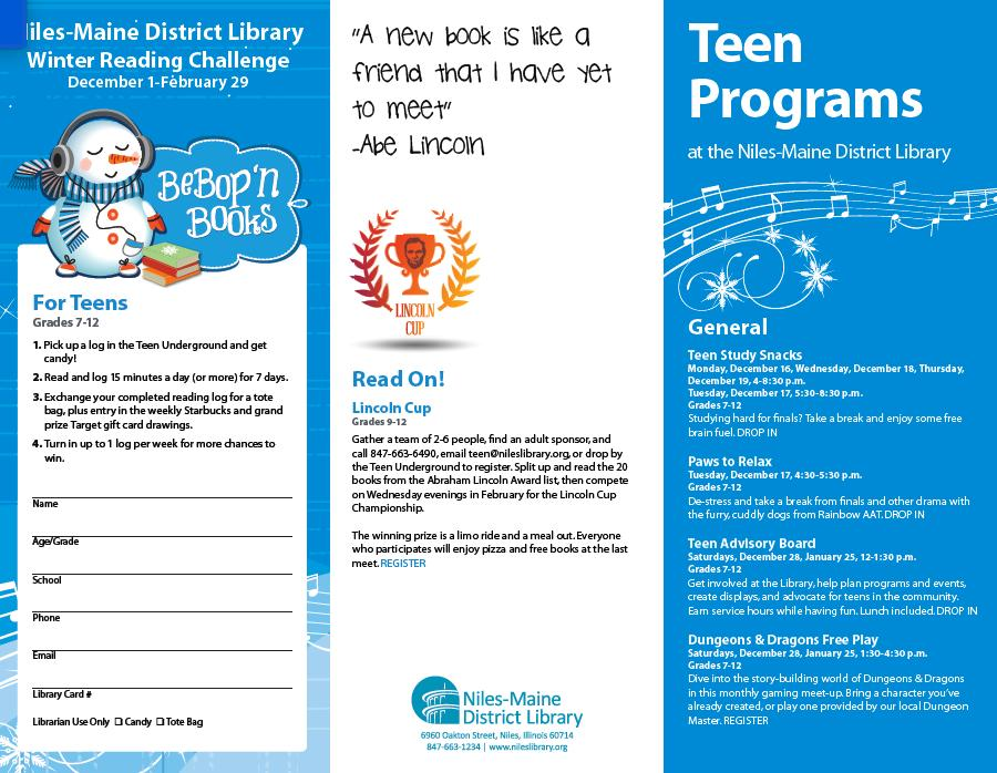 Niles-Maine District Library Winter Reading Challenge