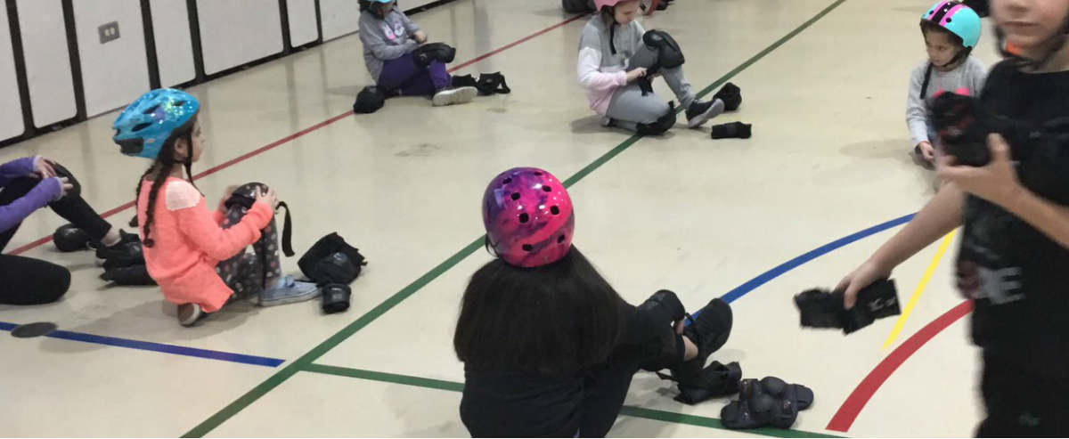 Students rollerblading