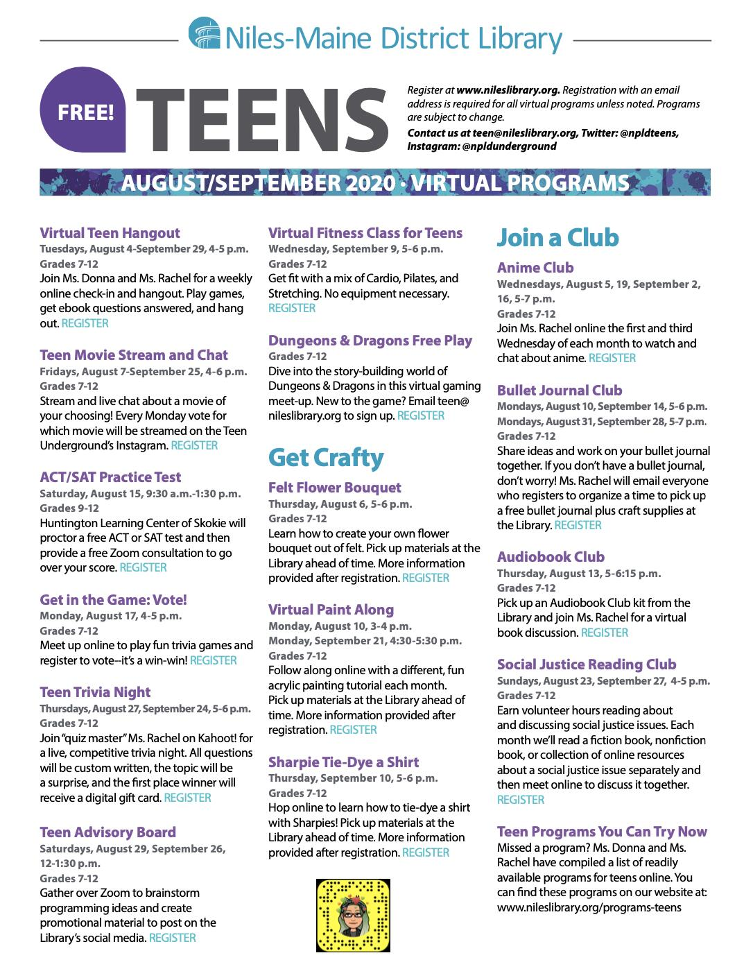 Niles-Maine District Library Teen Virtual Programs