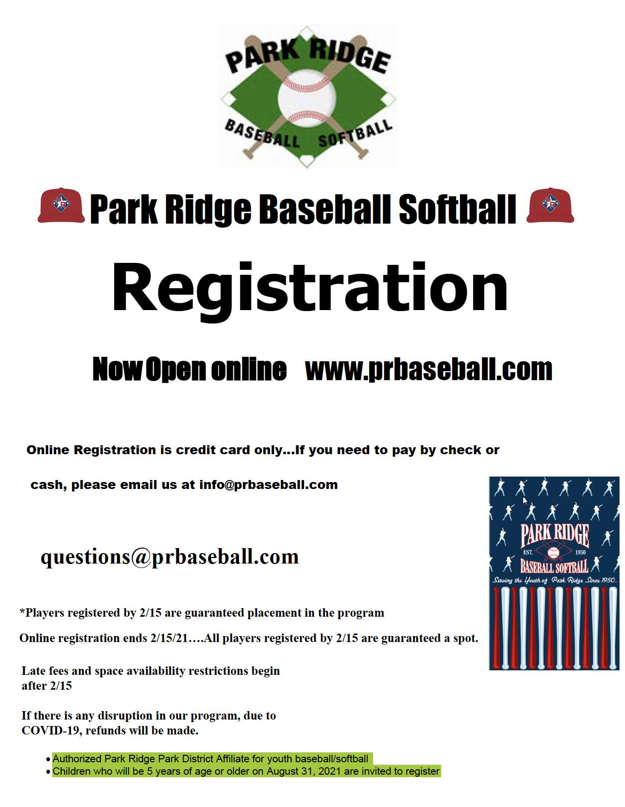 Park Ridge Baseball and Softball Registration
