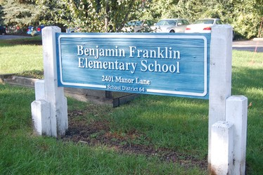 Benhamin Franklin Elementary School sign