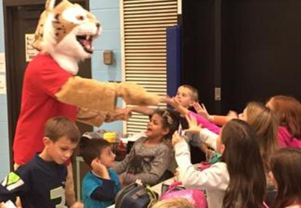 ROARY visits at lunch to celebrate Red Ribbon Week