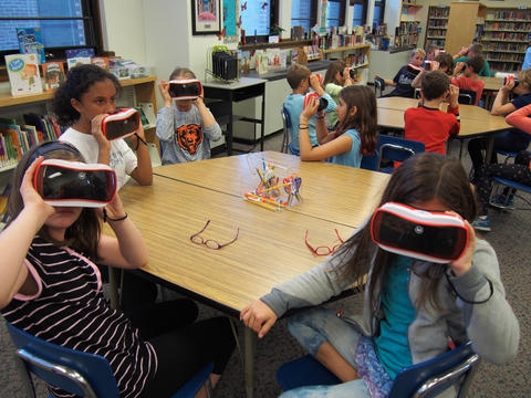 Numerous students on Google Expedition