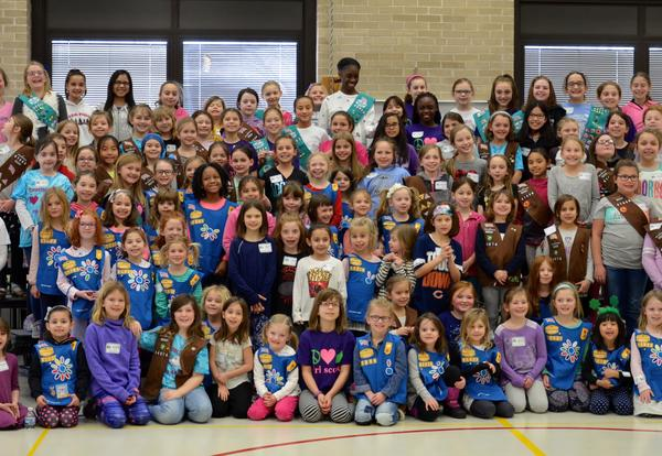 large group of girl scouts
