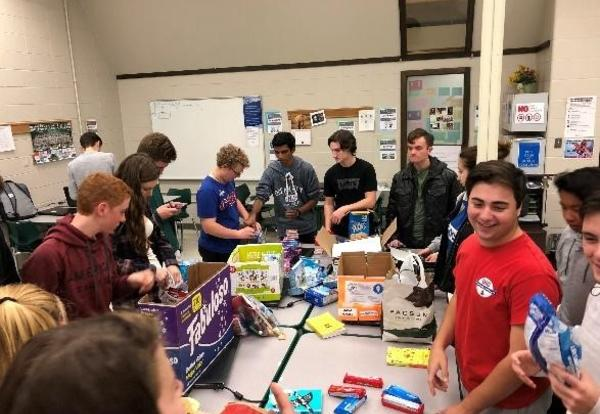 Grayslake Central FBLA Students Assemble Care Packages for Marines