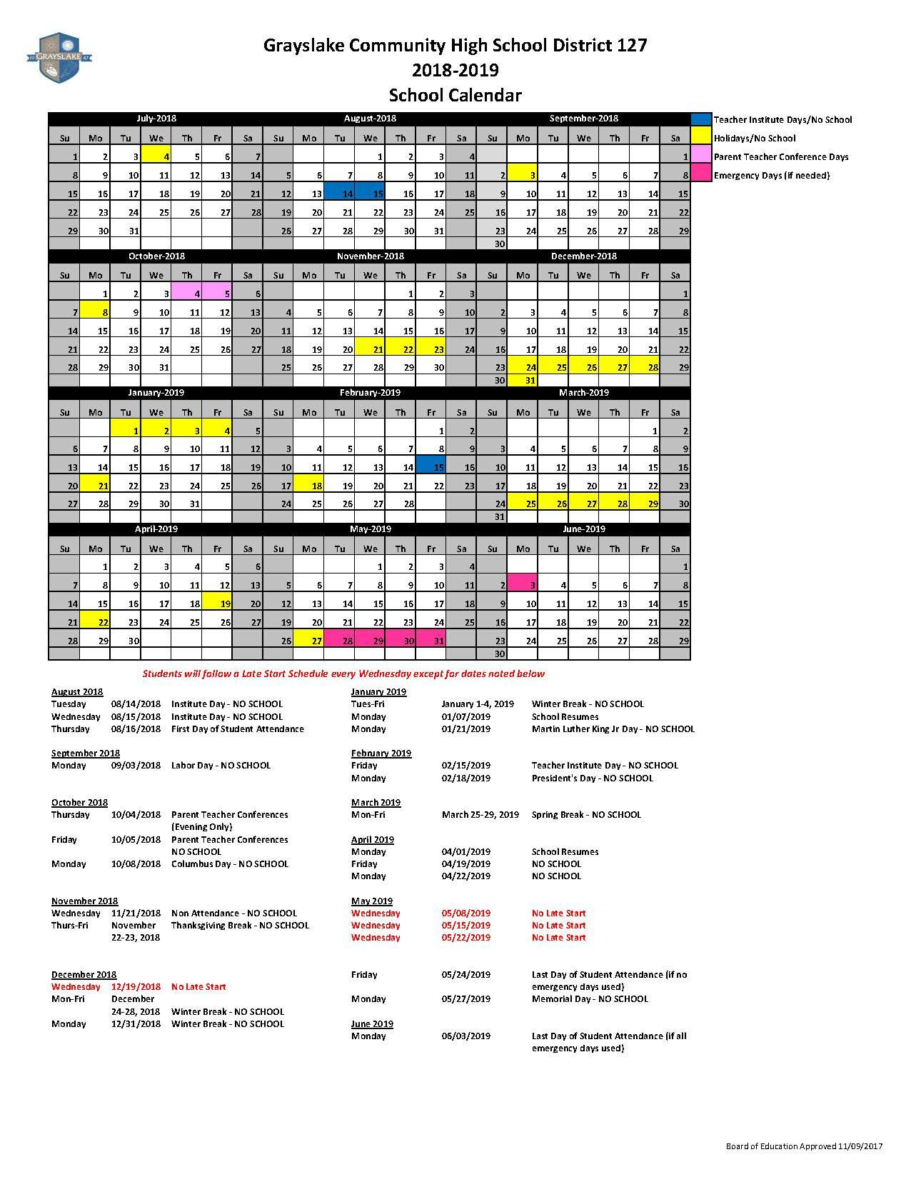 District Planning Calendar About