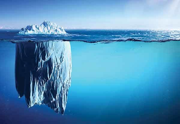 Iceberg floating in the cold waters of the ocean