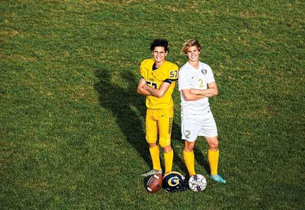 Two male soccer players on the Graceland Yellowjackets varsity team, Carlos Coello and Will Graef