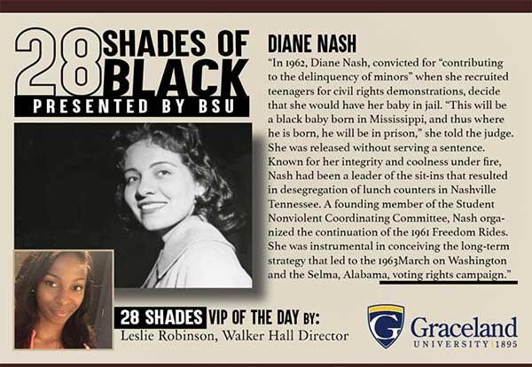 28 Shades of Black presented by BSU: Diane Nash