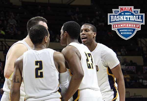 Graceland men's basketball team on the court