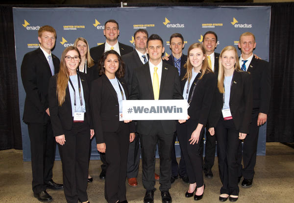 The 2018 Enactus team from Graceland as they advance to the U.S. National Exposition. Sign: #WeAllWin