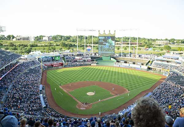 The field at Kauffman Stadium in Kansas City where the Royals are playing the Houston Astros.