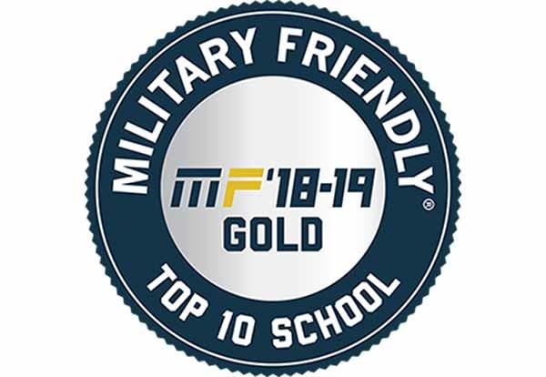 Military Friendly Top 10 School 2018-19 Gold Badge