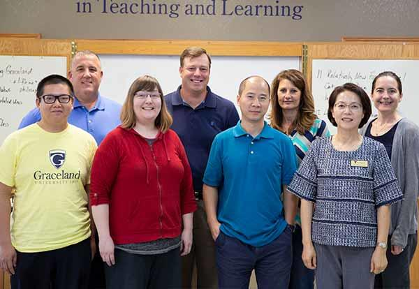New Faculty Group for 2018-19. Pictured: (back row, left to right) Dr. Donovan Nelson, Justin Akers, Brandi Shay, Dr. Amanda Sims, (front row, left to right) Dr. Chee Weng Yim, Kimberly Manuel, Dr. Kesong Hu, Dr. Kyung Eun Park