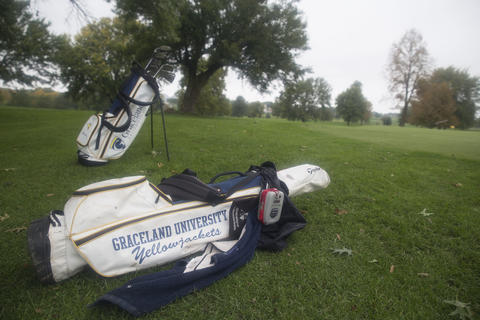 Golf bags on the golf course