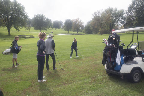 Golfers on the golf course