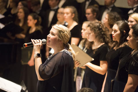 Professor Blessing with the Concert Choir