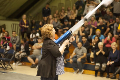 President Draves shooting the T-Shirt cannon