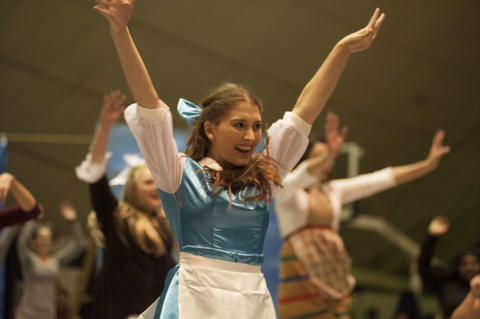 Belle dancing with the cast