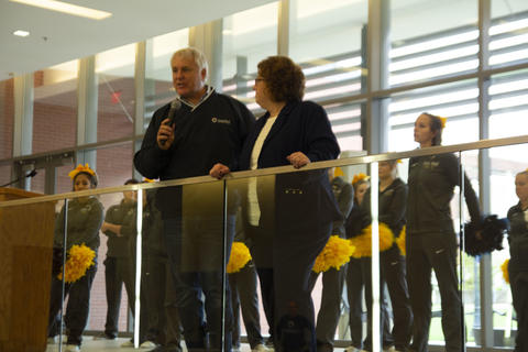 President Draves answering questions during the pep rally