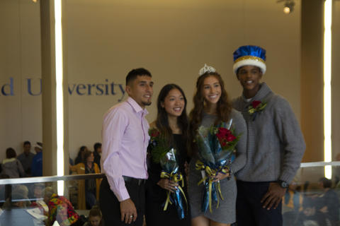 Homecoming king and queen with two other candidates