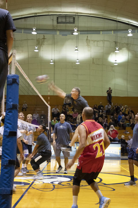 GU Alumni holding nothing back at Men's annual Volleyball Homecoming game.