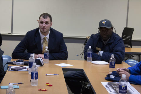 Men's Basketball coach Cory Hoff and Admission counselor Twong Wells talk more with incoming Graceland students.