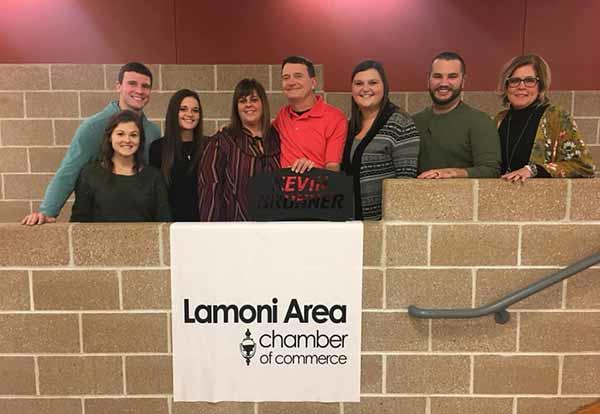 Lamoni Area Chamber of Commerce Citizen of the Year Kevin Brunner with his family