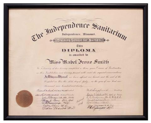 Nursing diploma from The Independence Sanitarium