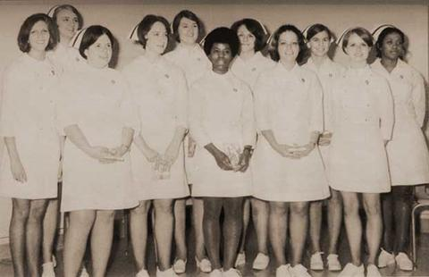 Black and white photo of an early graduating nursing class