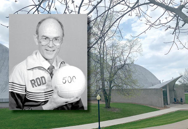 photo of Rod Schall holding a volleyball on top of photo of Closson Center gym
