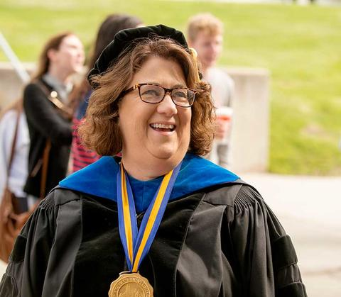 President Pat Draves in her regalia for commencement