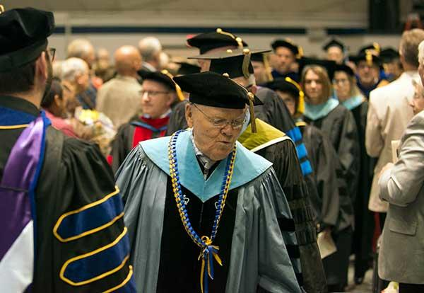 Jerry Hampton in full regalia at commencement ceremony