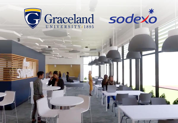 A simulated image of what the Swarm Inn could look like in the newly renovated Newcom Student Union with the organizational logos of Graceland University and Sodexo