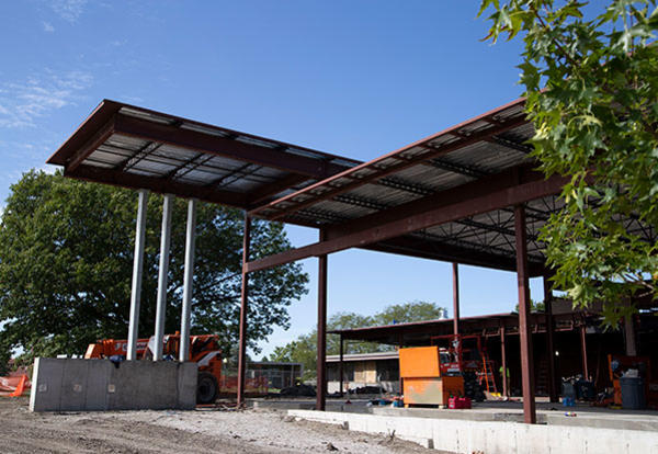 Exterior view of Newcom Student Union under construction