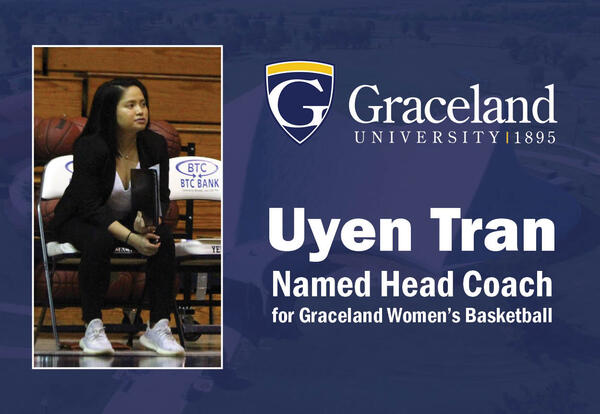 "Photo of Uyen Tran with the title, ""Uyen Tran Named Head Coach for Graceland Women's Basketball."""