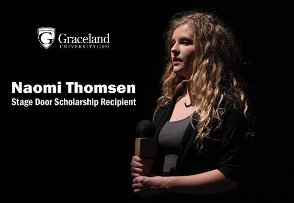"photo of Naomi Thomsen with text reading ""Stage Door Scholarship Recipient"""