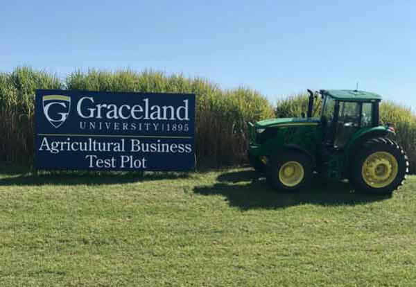 A John Deere tractor parked at Graceland's ag business test plot