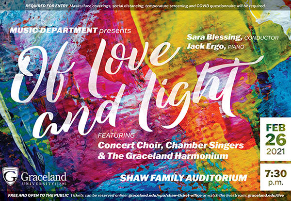 "Colorful image with the words ""Of Love and Light"" and concert details outlined in the story."