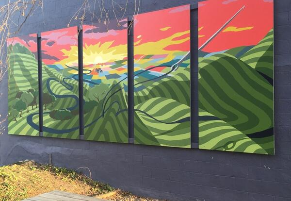 Colorful mural on gray background