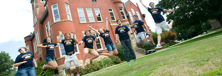 Students jump in front of Higdon